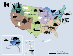 Map of selected observed and projected biological responses to climate change across the United States. (Figure source: Staudinger et al., 20121).