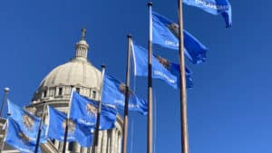 Oklahoma State Capitol - Flags waving